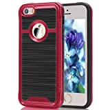 iPhone SE Case, HOcase Wiredrawing TPU Series, Dual Layer Lightweight Scratch Resistant Shockproof Protective Case for 4 inch iPhone SE - Red