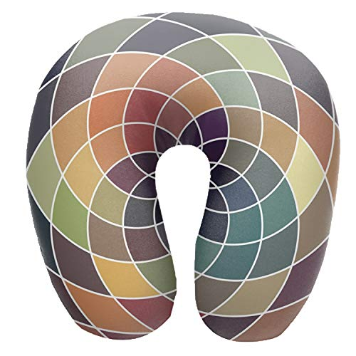 Soft Mosaic Spectrum Color Wheel Made of Geometric Pillow U-Shaped Neck Support Cushion Travel Pillow for Airplanes Cars Trains Home or Office