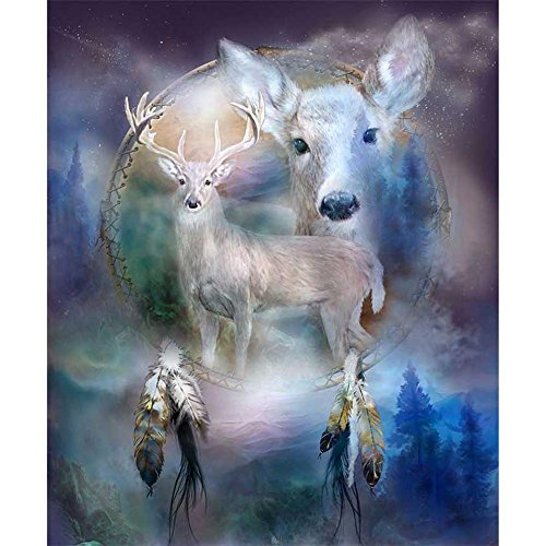 Whitelotous 5D Diamond Embroidery Animal Elk Round DIY Diamond Painting Cross Stitch Home Decor Elks Animals