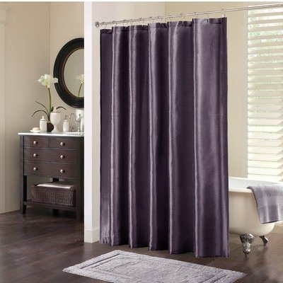 Madison Mint Dollar - Madison Park Audrina Faux Silk Shiny Drape Luxury Premium Bathroom Shower Curtain, 72X72