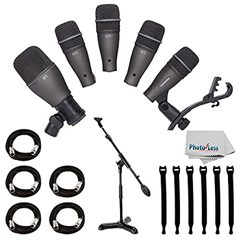 Samson DK705 5-Piece Drum Microphone Kit + Samson MB1 Mini Boom Stand + 5x Mic Cable, 20 ft. XLR Bulk + Op/Tech Strapeez, Black + Photo4Less Cleaning Cloth - Valued Accessory - Drum Kit Microphone System