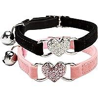 Bocotoer Verstellbares Glocke Katzen-Halsband mit und Kristallsteinen Herzanhänger mit weicher Samtstoff 20,3-28 cm Packung mit 2
