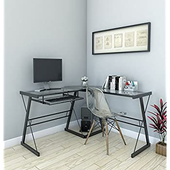 Ryan Rove Madison 3-Piece Corner L-Shaped Computer Desk in Black and Clear Glass