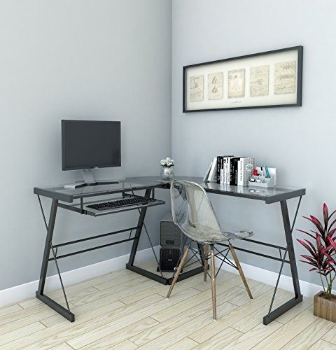 L-shaped Clear Glass Desk - Ryan Rove Madison 3-Piece Corner L-Shaped Computer Desk in Black and Clear Glass