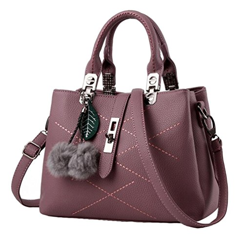 Multicolor Travel YAANCUN Leather Dark Handbags Bag Soft Shoulder Womens Red Totes 0xx7qIfr