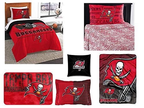 (Northwest NFL Tampa Bay Buccaneers Ultimate 8pc Ensemble: Includes Twin Comforter, sham, Twin Flat Sheet, Twin Fitted Sheet, Pillowcase, Rug, toss Pillow Oversized Throw)