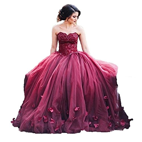Women's Sweetheart Appliques Quinceanera Dress Tulle Wedding Ball Gown Burgundy 2