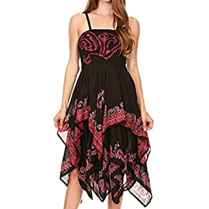 Sakkas 6631 Batik Smocked Bodice Handkerchief Hem Dress - Black / Raspberry - OS