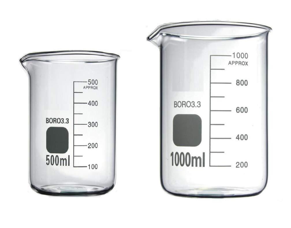 Rocwing - Borosilicate 3.3 Glass Graduated Measuring Beaker (1000ml+2000ml+3000ml) HuiDa