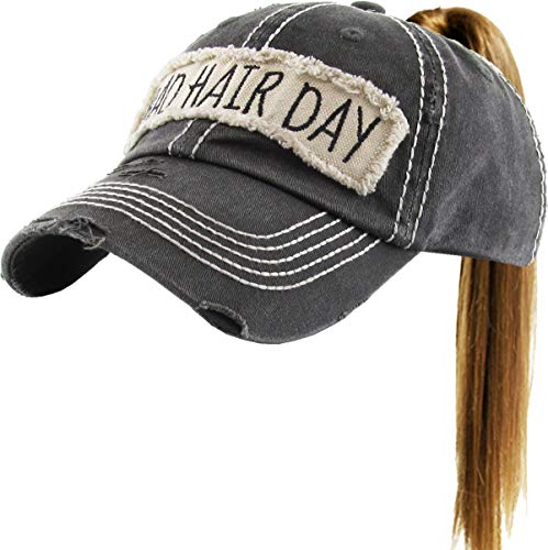 - PONY-100 BLK Bad Hair Day Ponytail Messy High Bun Adjustable Cotton Baseball Cap