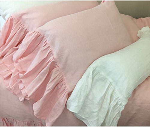 A pair of Pink Linen Pillow Covers with mermaid long ruffles, Shabby Chic Pillow Cases, Ruffle Pillow Cover, Pink Pillow Protector, Handmade 100% Flax Linen, FREE SHIPPING by SuperiorCustomLinens