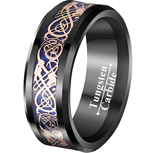 VIVI&JOE 8mm Black & Blue Tungsten Wedding Ring with Rose Gold Celtic Dragon Vintage Engagement Anniversary Bands Knot Jewelry Size -