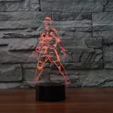 3D Soccer Players Molding Night Light 7 Color Change LED Table Desk Lamp Acrylic Flat ABS Base USB Charger Home Decoration Toy Brithday Xmas Kid Children Gift