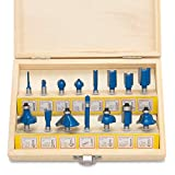 Hiltex 10100 Tungsten Carbide Router Bit Set, 15-Piece
