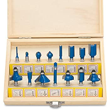 Router Bit Set 24 Piece Kit With Shank And Wood Storage Case By