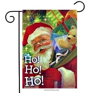 "Santa Sparkle Christmas Garden Flag by Evergreen Holiday Banner 12.5"" x 18"""