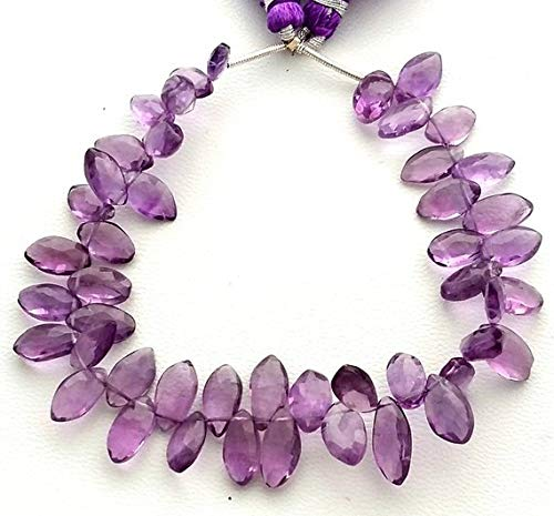 JP_BEADS Natural Amethyst Faceted Marquise Shaped Beads, Amethyst Gemstone - 5x9 mm to 6x13 mm, 8 inch Strand, [E1355] Amethyst Marquise