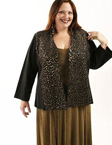 Peggy Lutz Plus Women's Mandarin Jacket Black Bronze Tiny Sequins - (18/20)