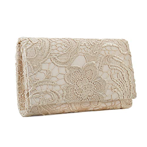 Charming Tailor Lace Formal Bag Elegant Wedding Clutch Purse Bridal Handbag for Women (Beige)