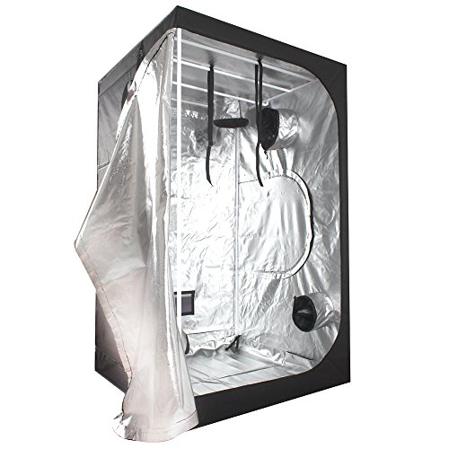 """51QZeQvhLGL - Ipomelo 48""""x48""""x80"""" 600D Mylar Hydroponic Grow Tent with Floor Tray for Indoor Plant Growing 4'x4'"""