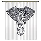 iPrint Shower Curtain,Elephant Mandala,Vintage Ornate Holy Animal Head with Floral Paisley Sacred Details,Purple and White,Polyester Shower Curtains Bathroom Decor Sets with Hooks