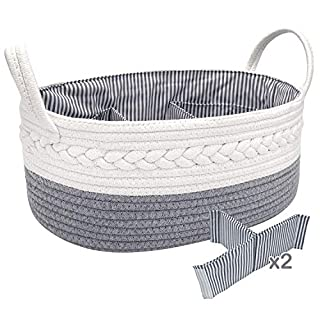 NXY Cute Baby Diaper Caddy Organizer, Large Basket, 16.5 x 10.3 x 6.5 Inch, Light Gray And White, 100% Nature Cotton Rope Nursery Storage Bin/Caddy, Top Newborn Registry Gift.…