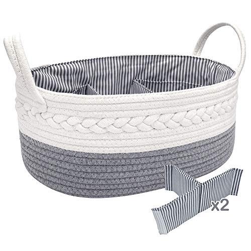 NXY Cute Baby Diaper Caddy Organizer, Large Basket, 16.5 x 10.3 x 6.5 Inch, Light Gray and White, 100% Nature Cotton Rope Nursery Storage Bin/Caddy, Top Newborn Registry Gift.…