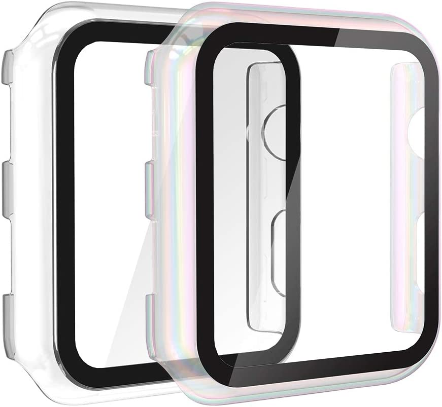 Gaishi 2-Pack Case with Tempered Glass Screen Protector Compatible with Apple Watch 38mm Series 3 Series 2, All Around Protective Case Replacement for iWatch Series 3 2 38mm, Clear+Clear