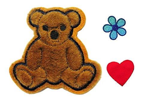 Altotux Brown Furry Teddy Bear Red Heart Blue Flower Kaylee Firefly Costume Embroidered Sew on Patches Applique DIY Cosplay Craft Supplies (Firefly Kaylee Patches)