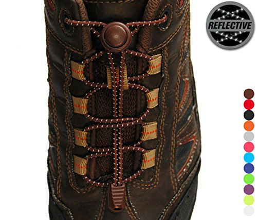 Stout Gears Reflective No Tie Shoelaces Lock System - Elastic Shoe Laces for Sneakers - 1 Pair (Brown)