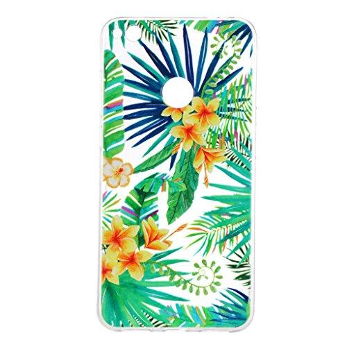 Funda para Huawei P8 Lite 2017 / P9 Lite 2017 / Honor 8 Lite (No se aplica a Honor 8) , IJIA Transparente Hoja De Plátano Verde TPU Silicona Suave Cover Tapa Caso Carcasa Cubierta para Huawei P8 Lite  HX96