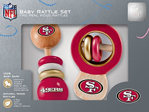 NFL  San Francisco 49ers Baby Rattle Set - 2 Pack (Smile Rattle)