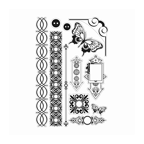 - Couture Creations Hearts Ease Borders and Butterflies Clear Stamp Set, Transparent