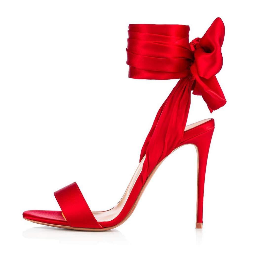 赤いストラップハイヒールの女性の靴、宴会の女性の靴、ヒールの高さ、超ハイヒール(8CM以上)