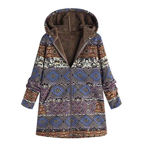 JOFOW Womens Jackets Parka Boho Ethnic Totem Print Vintage Fleece Lined Exotic Hooded Long Warm Padded Loose Coats Plus Size (L =US:4-6,Blue)