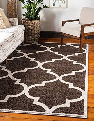 Unique Loom Trellis Collection Moroccan Lattice Brown Area Rug 5 0 x 8 0