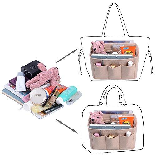 Purse Organizer, Bag Organizer With Sewn Bottom Insert New Design, Medium, Large (Large, Beige) by ZTUJO (Image #5)