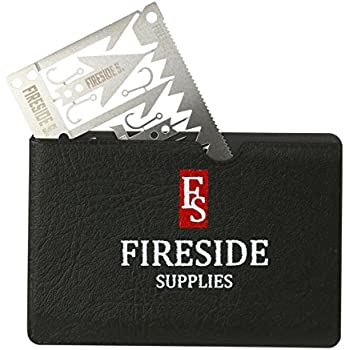 Fireside Supplies Survival Card with Bonus Black Leather Pouch – 22 Outdoor Tools in 1 Set – Durable Stainless Steel Multitool Gear – Emergency Kit Equipment for Hiking Hunting Fishing Camping