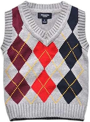 Boys School Uniform Cable Front Color Block Sweater Vest Clothing Activewear