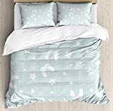 Our Wings Aqua Comforter Set,Beach Theme Decor Sea Shells Starfishes Flip Flops Glasses Summer Holiday Bedding Duvet Cover Sets Boys Girls Bedroom,Zipper Closure,4 Piece,Seafoam White Twin Size