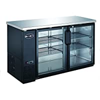 UBB-24-60G 60 Narrow Glass Door Back Bar Cooler Stainless Steel Top and LED Lighting