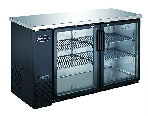 UBB-24-60G 60'' Narrow Glass Door Back Bar Cooler Stainless Steel Top and LED Lighting by SABA