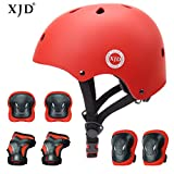 XJD Child Protective Gear Set, Adjustable Kids bike Helmet Knee Elbow Pads Wrist (red)