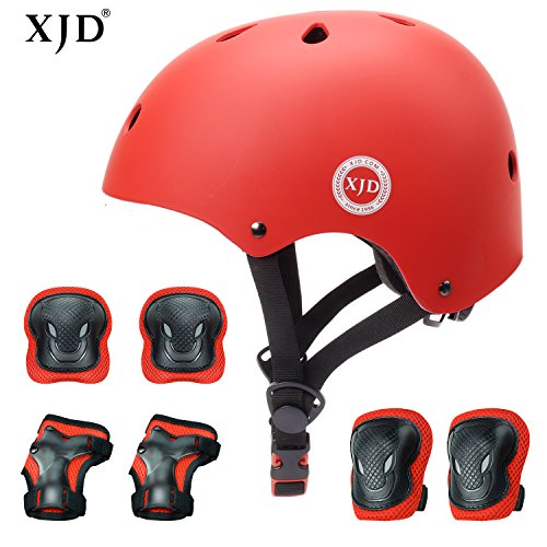 XJD Kids Helmet 3-8 Years Toddler Helmet Sports Protective Gear Set Knee Elbow Wrist Pads Roller Bicycle BMX Bike Skateboard Adjustable Helmets for Kids (RED) (Best Skates For 4 Year Old)