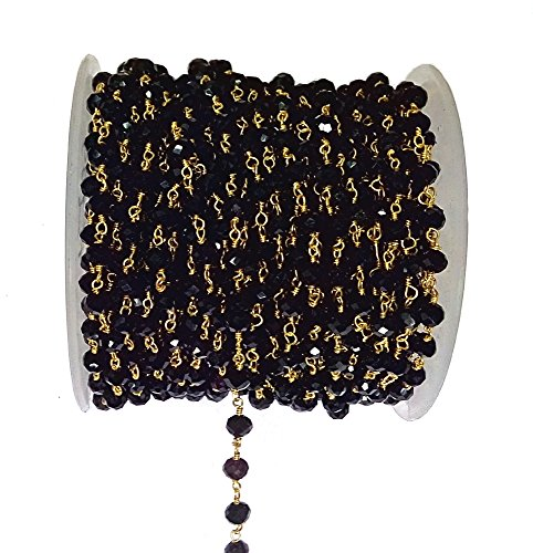 - 3 feet Black Onyx Quartz Bead 6mm 24k Gold Plated Rosary Style Chain by bestinbeads, Hydro Quartz Beaded Chain by The Foot, Jewelry Making Chain