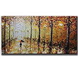 painting a bedroom -100% Hand Painted Orange Romantic Rainy Street Oil Painting on Canvas Modern Abstract Landscape Wall Art Artwork Paintings for Living Room Bedroom Dining Room Office Home(20X40inch)