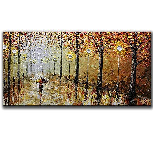 -100% Hand Painted Orange Romantic Rainy Street Oil Painting on Canvas Modern Abstract Landscape Wall Art Artwork Paintings for Living Room Bedroom Dining Room Office Home(20X40inch)