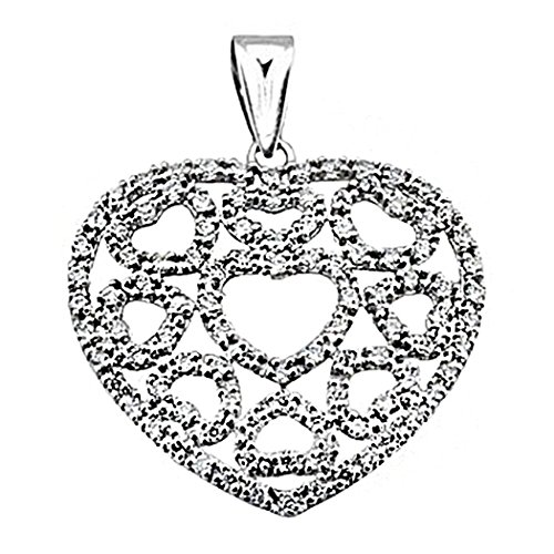 Pendentif 18k or blanc zircone cubique coeurs multiples [8405]