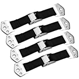 Furniture and TV Anti Tip Straps, Heavy Duty Wall Anchor, Adjustable Earthquake Resistant Strap, Protection for Children from Furniture, Baby Proof & Extra Strong Metal Kit 4 Pack, Black