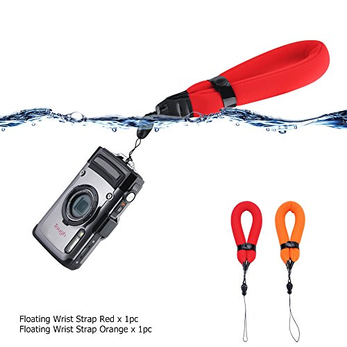 2 Pack Waterproof Camera Float Strap for Olympus TG6 TG5 TG4 TG3 TG2 TG870 Nikon W300 W100 AW120 AW110 AW100 Canon D30 D20 Fujifilm XP140 XP130 XP120 XP90 XP80 GoPro Hero7 Hero6 Hero5 Panasonic TS30